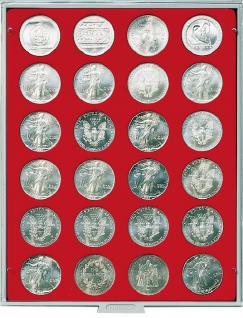 LINDNER MÜNZBOXEN Münzbox für 24 Münzen 41 mm Ø 1 Dollar US Eagle 50 FF Standard 2160