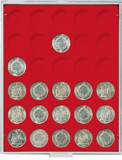 LINDNER MÜNZBOXEN Münzbox für 30 Münzen 37 mm Ø 1 Unze Philharmoniker Gold & Silber Rauchglas 2761