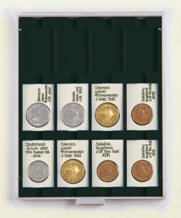 LINDNER 2170C Münzboxen Münzbox Carbo Schwarz 50 x 70 mm eckigen Münzen & REBECK COIN L Münzrähmchen