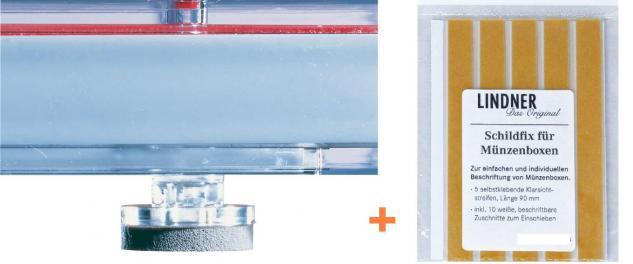 Lindner 2185 Ergänzungssortiment 4x Standfüße + 1 Lindner Schildix für Münzboxen Sammelboxen D Box