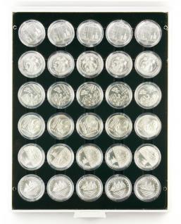 LINDNER 2226C MÜNZBOXEN Münzbox Carbo Schwarz 30x 39 mm Für 10 & 20 EURO - 10 DM - 10 & 20 Mark DDR Münzen in Münzkapseln