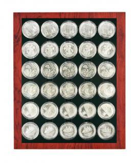 LINDNER 2485B-2537C Chassis Rahmen Münzenboxrahmen Münzvitrine Rosenholz Echhtholz + Münzbox Carbo Schwarz 10 Euromünzen in original Münzkapseln 32, 5 PP