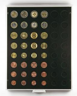 Lindner 2506C Münzbox Carbo Schwarz für 6 komplette Euro Kursmünzensätze KMS 1 Cent - 2 Euromünzen