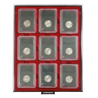 LINDNER 2619 MÜNZBOXEN Münzbox Rauchglas 9 x Münzen 64 x 86 mm Original US Münzen Slabs Münzkapseln