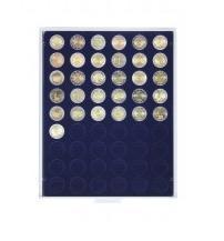 Lindner 2154M Münzbox Münzenboxen Münzboxen Marine Blau für 2 Euro Münzen Gedenkmünzen