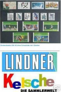100 x A6 Lindner Einsteckkarten Steckkarten Klemmkarten 4 Streifen + Folie für Briefmarken - Vorschau