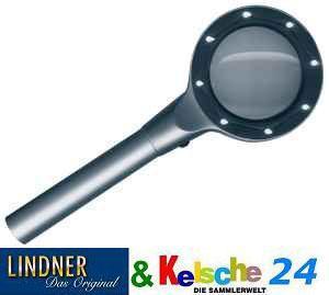 LINDNER 7151 ALUMINIUM LEUCHTLUPE 2, 5 FACHE Vergrößerung - 2 stufig zuschaltbar 4 / 8 weisse LED'S