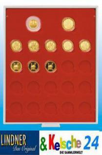 LINDNER Münzbox Münzboxen Deutsche 1 DM 200 Goldeuro 20x 100 Goldmünzen in Münzkapseln Rauchglas 2922