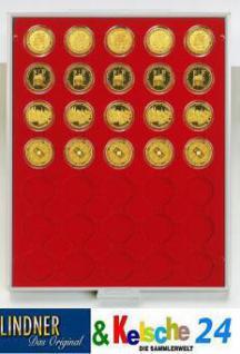 LINDNER Münzbox Münzboxen 35x 34 mm 100 Deutsche Goldeuro 2 Mark Kaiserreich 20 ÖS in Münzkapseln Rauchglas 2935