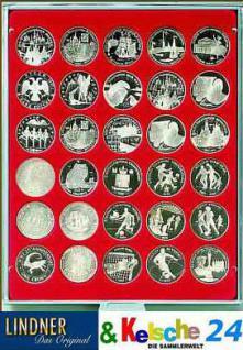 LINDNER MÜNZBOXEN Münzbox 30 Münzen 39 mm Ø 1 Unze Meaple Leaf Silber 3 & 10 Rubel Rauchglas 2706