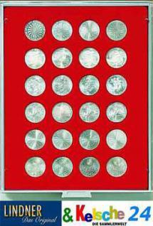 LINDNER Münzbox Münzboxenfür 24 Münzen 32,5 mm Ø 10 Euromünzen 10 DM Rauchglas 2710