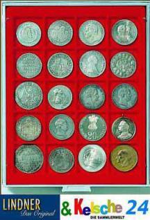 LINDNER MÜNZBOXEN Münzbox 20 x 47 mm Münzen quadratische Vertiefungen 1 1/2 Unzen Polar Bear Rauchglas 2720
