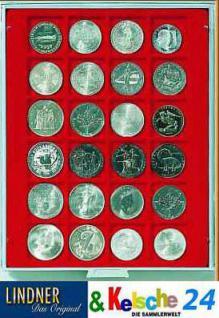LINDNER Münzbox Münzboxen 24 x 42 mm Münzen quadratischen Vertiefungen 1 $ US Eagle Dollar 50 FF Rauchglas 2724