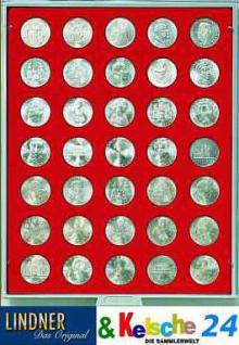 LINDNER Münzbox Münzboxen für 35 Münzen 30 mm Ø 3 Reichsmark 1 Unze Meaple Leaf Gold Rauchglas 2725 - Vorschau