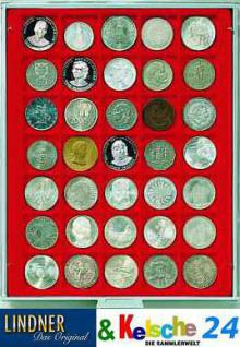 LINDNER MÜNZBOXEN Münzbox 35 x 36 mm Münzen quadratischen Vertiefungen 5 Reichsmark Rauchglas 2735 - Vorschau