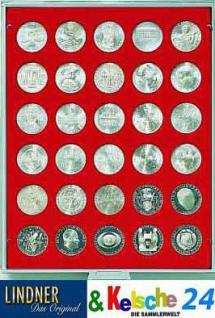LINDNER Münzbox Münzboxen für 30 Münzen 34 mm Ø 20 Mark DDR - 100 Schilling - 20 CHF Rauchglas 2750 - Vorschau