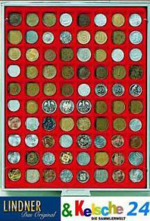 LINDNER MÜNZBOXEN Münzbox 80 x 24 mm Münzen quadratische Vertiefungen 1 DM 1 Euro Rauchglas 2780