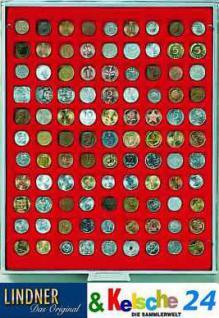 LINDNER MÜNZBOXEN Münzbox 99 Münzen quadratische Vertiefungen 19 mm Rauchglas 2799