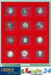 LINDNER MÜNZBOXEN Münzbox 12 x 5 DM Gedenkmünzen PP im Blister 57 x 50 mm Rauchglas 2605