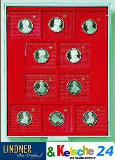 LINDNER MÜNZBOXEN Münzbox 10 x 10 DM Gedenkmünzen PP im Blister 69 x 62 mm Rauchglas 2609