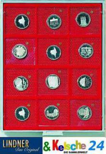 LINDNER Münzbox Münzboxen 12 x 10 DM Gedenkmünzen PP im Blister 69 x 62 mm Rauchglas 2610