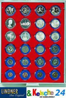 LINDNER Münzbox Münzboxen 24 x 41 mm Münzen in Münzkapseln Rauchglas 2624
