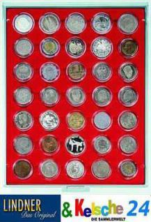 LINDNER Münzbox Münzboxen 35x 36 mm. 5 DM Gedenkmünzen / 5 CHF in Münzkapseln Rauchglas 2625