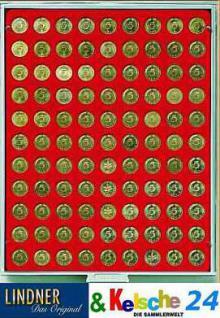 LINDNER MÜNZBOXEN Münzbox 99 runde Vertiefungen 18,5 mm Ø Rauchglas 2905