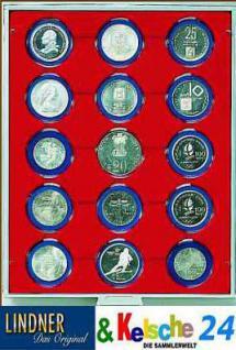 LINDNER 2915 Münzbox Münzboxen Rauchglas 15 x 51 mm Münzen in Münzkapseln