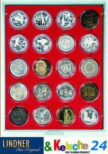 LINDNER 2920 Münzbox Münzboxen Rauchglas 20 x 48 mm 50 FF 1 Unze China Panda Silber in Münzkapseln