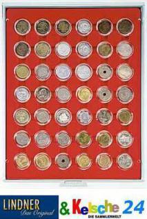 LINDNER Münzbox Münzboxen für 42x 5 / 20 Cent 1 EURO 1 DM 5 ÖS in Münzkapseln Rauchglas 2929