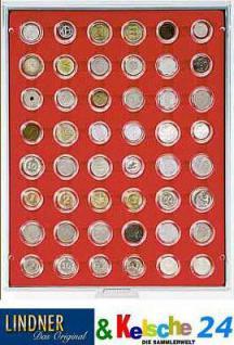 LINDNER Münzbox Münzboxen 48x 2 / 10 EURO Cent 2 Pfennig 50 Pfennig in Münzkapseln Standard 2548 - Vorschau
