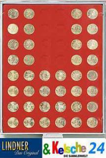 LINDNER Münzbox Münzboxen für 48 Stück 50 Euromünzen Euro Cent 24,25 mm Rauchglas 2949