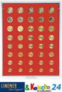 LINDNER Münzbox 5 komplette Euro Kursmünzensätze KMS 1 Cent - 2 Euromünzen Rauchglas 2955
