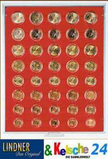 LINDNER 2956 Münzbox Münzboxen Rauchglas 5 komplette Euromünzen Kursmünzensätze in Münzkapseln