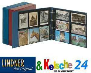 LINDNER 10 Stück Postkartenblatt schwarz,2x6 waagre