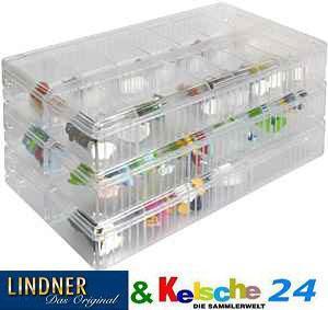 10 x LINDNER 4820P Stapelbox Sammelvitrine mit 12 Fächern glasklar für Ü Ei Figuren - Vorschau