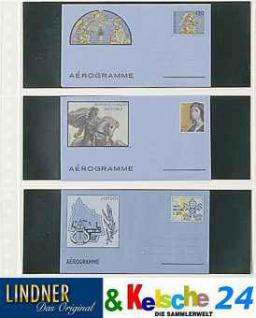 10 LINDNER 822P Klarsichthüllen Glasklar Schwarz mit 3 Taschen 240 x 90 mm Für Banknoten Briefe
