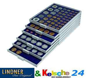 Lindner 2111M Münzbox Münzboxen Marine Blau für 35 x 32,5 mm Ø 10 Euromünzen 10 DM 200 Euro Gold - Vorschau 2
