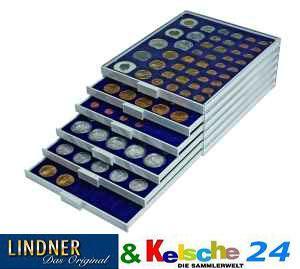 Lindner 2180M Münzbox Marine Blau 80 x 24 mm quadratische Vertiefungen 1 DM 1 EURO Standard - Vorschau 2