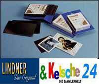 HAWID 6047 BLAUE Packung 50 Zuschnitte 26x31 mm schwarze Klemmtaschen