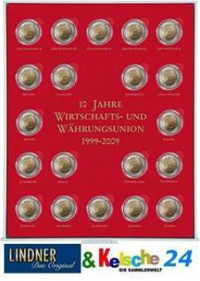 LINDNER S2932 Münzbox Münzenbox Münzboxen Rauchglas 2 Euro 10 Jahre WWU + 20 Münzkapseln 26