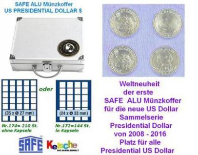 Safe ALU Münzkoffer US Presidential Dollar 6 Tab =