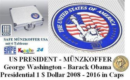 SAFE 230 ALU Münzkoffer USA US Dime Quarter Presidential Silber Eagle Dollar 6 Tableaus - 25 Modelle verfügbar - FREIE AUSWAHL
