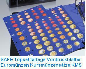 6 x SAFE TOPset farbige Vordruckblätter für Münzblätter 7829 - Euromünzen Kursmünzensätze in Münzkapseln Set 1865