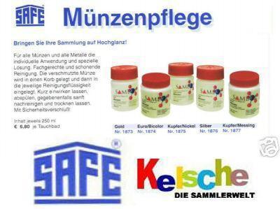 SAFE 1873 SAMBOL GOLD Münzbad Tauchbad Münzreiniger Reiniger Bad für Münzen Schmuck 250 ml