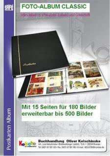 SAFE 4130 Fotoalbum CLASSIC SCHWARZ mit 15 Seiten 180 Bilder Photos Postkarten Ansichtskarten