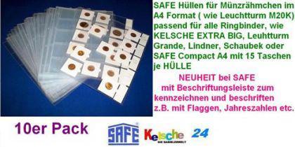 10 Hüllen f. Münzrähmchen SAFE Nr.435XL A4 Format -