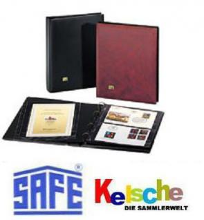 SAFE 525 DOPPEL - ETB Album Ringbinder Weinrot Rot - mit 10 Blättern für 20 ETB 'S - Erweiterbar bis zu 70 Blätter