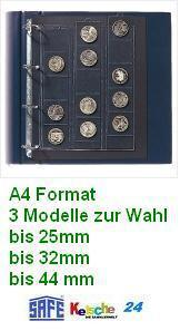 SAFE Münzhüllen 25-44 mm 3 Modelle A4 Format 3 St
